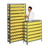 Edsal 2960 Bin Shelving, Solid, 36X12, 48 Bins, Yellow