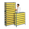 Edsal 2960 Bin Shelving, Solid, 36X18, 96 Bins, Yellow