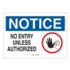 Brady 43479 Notice Sign, 10 x 14In, R,  BL and BK/WHT