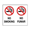 Brady 38933 No Smoking Sign, 10 x 14In, R and BK/WHT