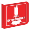 Prinzing LOFE15A Fire Extinguisher Sign, 8 x 8In, WHT/R, ENG
