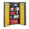 Edsal BC6202G Bin Storage Cabinet, 96 Bins, 4 Shelves