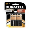 Duracell MN16RT4Z Battery, Alkaline, 9V, PK 4