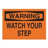 Brady 85144 Warning Sign, 10 x 14In, BK/ORN, ENG, Text