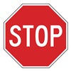 Lyle R1-1-30HA Traffic Sign, 30 x 30In, WHT/R, Stop, Text