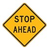 Lyle LW3-1A-30HA Traffic Sign, 30 x 30In, BK/YEL, Stop Ahead