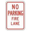 Lyle LR7-22-12HA Fire Lane Sign, 18 x 12In, R/WHT, ENG, Text