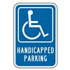 Lyle HC-016-12HA Parking Sign, 18 x 12In, WHT/BL, G-42, HDCP