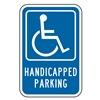 Lyle HC-016-12HA Parking Sign, 18 x 12In, WHT/BL, G-42, HDCP