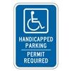 Lyle HC-007-12HA Parking Sign, 18 x 12In, WHT/BL, G-53, HDCP