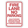 Lyle NP-004-12HA Fire Lane Sign, 18 x 12In, R/WHT, ENG, Text