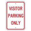 Brady 115221 Parking Sign, 18x12In, RED/WHT, Text, MUTCD
