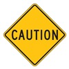 Zing 2396 Traffic Sign, 24 x 24In, BK/YEL, CAUT, Text