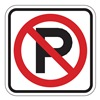 Zing 2416 Parking Sign, 24 x 24In, R/WHT, SYM, R8-3A