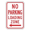 Zing 2280 Parking Sign, 18 x 12In, R/WHT, R7-6L