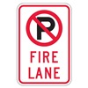 Lyle NPS-006-12HA Fire Lane Sign, 18 x 12In, BK and R/WHT