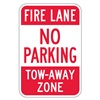 Lyle NP-005-12HA Fire Lane Sign, 18 x 12In, R/WHT, ENG, Text