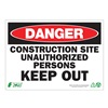 Zing 2121A Danger Sign, 10 x 14In, R and BK/WHT, ENG