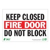Zing 1083A Fire Door Sign, 7 x 10In, R and BK/WHT, ENG