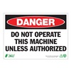 Zing 1095A Danger Sign, 7 x 10In, R and BK/WHT, ENG
