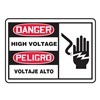 Accuform Signs SBLELC055VSP Danger Sgn, 3-1/2x5In, R and BK/WHT, HV, PK5