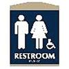 Intersign 62109-10 MERIDIAN Restroom Sign, 9-1/8 x 7In, WHT/MER, PLSTC