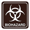Intersign 62200-17 DARK BROWN Biohazard Sign, 5-1/2 x 5-1/2In, PLSTC, SYM