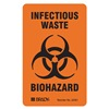 Brady 22351LS Bilingual Biohazard Label, 3 In. H, PK 100