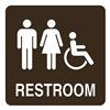 Intersign ALTC-RG62 DARK BROWN Restroom Sign, 8 x 8In, WHT/Dark BR, ENG