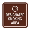 Intersign 62187-16 BURGUNDY Smoking Area Sign, 5-1/2 x 5-1/2In, ENG