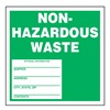 Accuform Signs MHZW11PSL Hazardous Waste Label, White/Green, PK 250