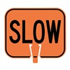 Tapco 535-00063 Traffic Cone Sign, Orng/Blk, Slow Traffic