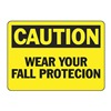 Accuform MFPR602VP Caution Sign, 7 x 10In, BK/YEL, PLSTC, ENG