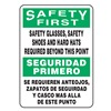 Accuform MSPP900VS Caution Sign, 14 x 10In, GRN and BK/WHT
