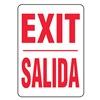 Accuform MSPG14VA Exit Sign, 14 x 10In, R/WHT, AL, Exit/Salida