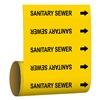 Brady 41474 Pipe Marker, Sanitary Sewer, Yel