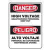 Accuform MSEL002VS Danger Sign, 14 x 10In, R and BK/WHT, Text