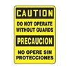 Accuform MSPS682VS Caution Sign, 14 x 10In, BK/YEL, Bilingual