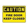 Accuform MEXT601VA Fire Door Sign, 7 x 10In, BK/YEL, AL, ENG