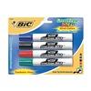 Bic BICDECP41ASST Dry Erase Marker, Blk, Blu, Grn, Red, Pk 4