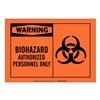 Brady 83928 Biohazard Sign, 3-1/2 x 5In, Black on Orng