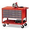 Hercules F85990RD Premium Shop Carts with Bins - 48 (24/Side) Bins - Red