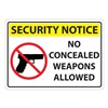 ZING 1816S Concealed Carry Sign, Txt and Sym, ENG, PK2