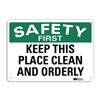 Lyle U7-1216-RA_14X10 Safety Sign, Reflective Alum, 10inHx14inW