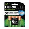 Duracell DX1500R4 Rechargeable Battery, AA, 2400mAh, PK4