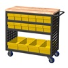 "Akro-Mils MA3618CASTYEL Louvered Cart - 36""Wx18""D Shelves - Gray Cart With 16 Bins - Yellow"