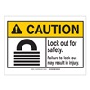 Brady 144497 Caution Sign, 5in.Hx3-1/2in.W, Lock Out