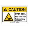 Brady 143912 Caution Sign, 5in.W, Self-Stick, Pinch
