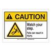 Brady 144777 Caution Sign, 5in.W, Self-Stick, Step