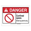 Brady 143669 Danger Sign, Permit Only, B-302,3-1/2in.H